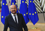 European Council President Charles Michel arrives for an EU summit at the European Council building in Brussels, Thursday, Feb. 20, 2020. After almost two years of sparring, the EU will be discussing the bloc's budget to work out Europe's spending plans for the next seven years. (AP Photo/Riccardo Pareggiani)