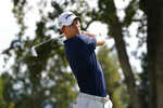 Maverick McNealy follows his shot from the second tee of the Silverado Resort North Course during the final round of the Fortinet Championship PGA golf tournament Sunday, Sept. 19, 2021, in Napa, Calif. (AP Photo/Eric Risberg)