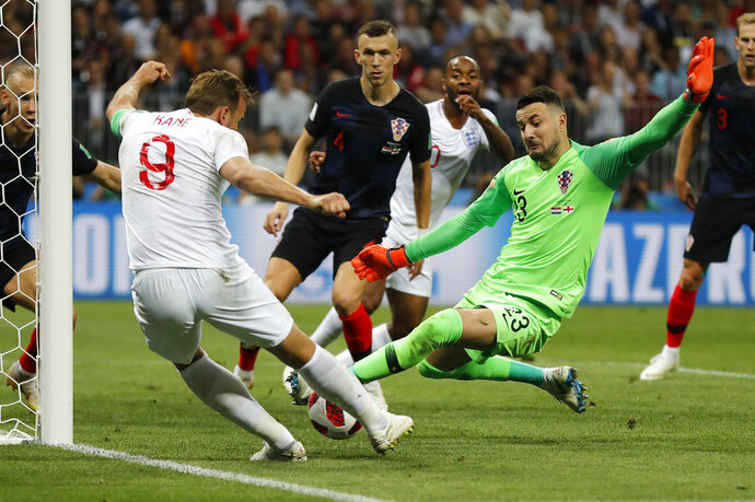 England's Harry Kane plays the ball against the goal post during the semifinal match between Croatia and England at the 2018 soccer World Cup in the Luzhniki Stadium in Moscow, Russia, Wednesday, July 11, 2018. (AP Photo/Frank Augstein)
