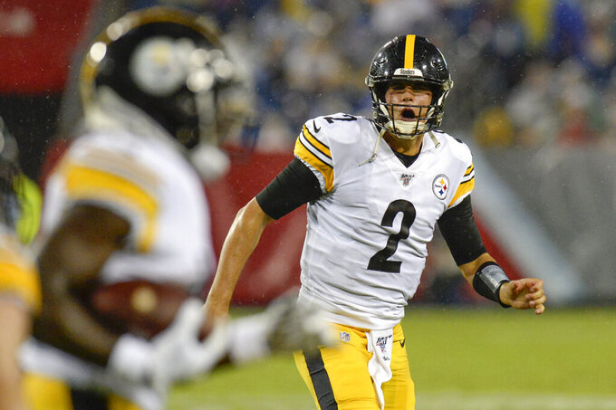 Pittsburgh Steelers quarterback Mason Rudolph (2) celebrates after throwing a 41-yard touchdown pass against the Tennessee Titans in the first half of a preseason NFL football game Sunday, Aug. 25, 2019, in Nashville, Tenn. (AP Photo/Mark Zaleski)