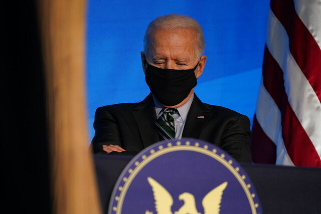 President-elect Joe Biden listens during an event at The Queen theater, Saturday, Jan. 16, 2021, in Wilmington, Del. (AP Photo/Matt Slocum)