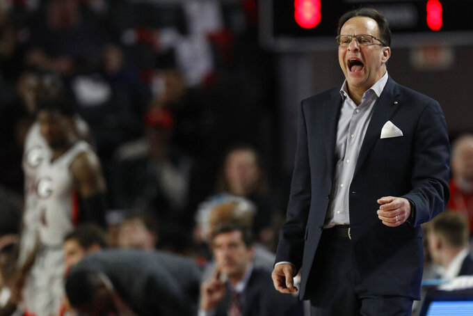 Georgia coach Tom Crean yells out during an NCAA college basketball game against South Carolina in Athens, Ga., on Saturday, Feb. 2, 2019.  (Joshua L. Jones/Athens Banner-Herald via AP)