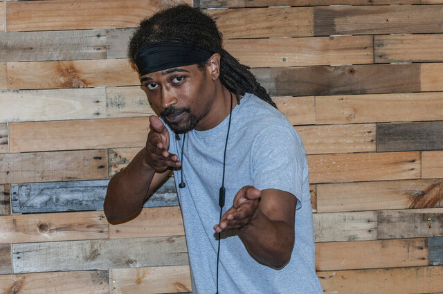In this Saturday, June 20, 2020, photo, A-1 Ninja Star, a hip hop artist from Tallassee, Ala., strikes a pose, at The Sanctuary in Montgomery, Ala. A-1 is a sign for excellence, which is what A-1 Ninja Star strives for, whether he's performing, producing or making beats. (Shannon Heupel/The Montgomery Advertiser via AP)