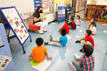 Pre-K teacher Vera Csizmadia teaches 3- and 4-year-old students in her classroom at the Dr. Charles Smith Early Childhood Center, Thursday, Sept. 16, 2021, in Palisades Park, N.J. Gov. Phil Murphy toured the school before announcing plans to plans to provide universal pre-K for all families in New Jersey. (AP Photo/Mary Altaffer)