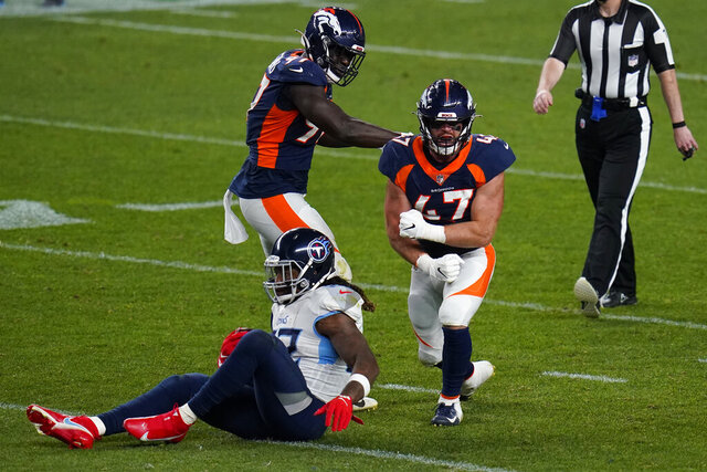 Denver Broncos inside linebacker Josey Jewell (47) celebrates his stop of Tennessee Titans running back Derrick Henry during the second half of an NFL football game, Monday, Sept. 14, 2020, in Denver. (AP Photo/Jack Dempsey)