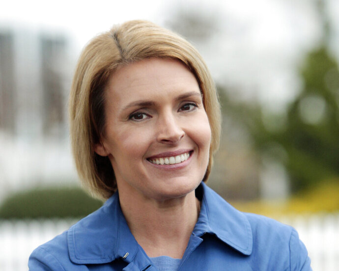 FILE- A photo, date not known, provided by the Amy Kennedy for Congress campaign shows candidate Amy Kennedy in Brigantine, N.J. In perhaps the highest-profile race is in New Jersey, Kennedy faces incumbent Jeff Van for the seat in the U.S. House of Representatives that Van Drew won as a Democrat in 2018. (Amy Kennedy for Congress via AP)