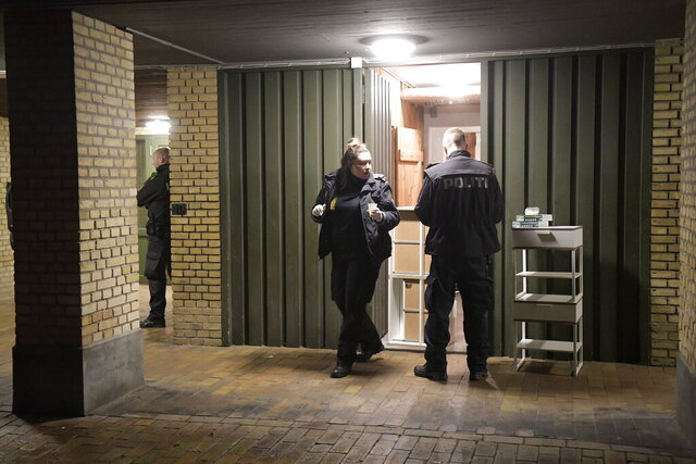 "Police conduct searches at Ramsingvej in Copenhagen, Wednesday, Dec. 11, 2019. Police in Denmark police say they have carried out ""a comprehensive and coordinated police action"" across the country based on suspicions of preparations"