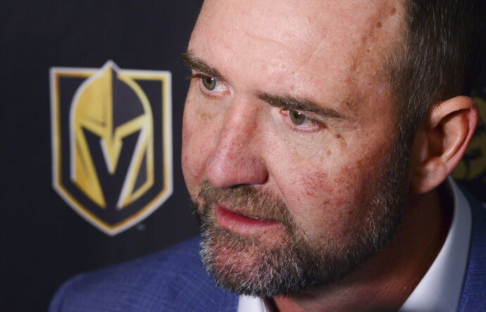 Vegas Golden Knights new head coach Peter DeBoer talks to media after defeating the Ottawa Senators 4-2 in an NHL hockey game, Thursday, Jan. 16, 2020 in Ottawa, Ontario. (Sean Kilpatrick/The Canadian Press via AP)