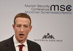 FILE - In this Feb. 15, 2020 file photo, Facebook CEO Mark Zuckerberg speaks on the second day of the Munich Security Conference in Munich, Germany.  The richest 25 Americans pay less in tax — 15.8% of adjusted gross income — than many ordinary workers do, once you include taxes for Social Security and Medicare, the nonprofit investigative journalism organization ProPublica found, Tuesday, June 8, 2021.  (AP Photo/Jens Meyer, File)