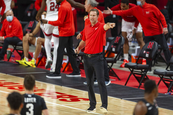 Nebraska head coach Fred Hoiberg points down court in the first half against Michigan State during an NCAA college basketball game on Saturday, Jan., 2, 2021, in Lincoln, Neb. (AP Photo/John Peterson)