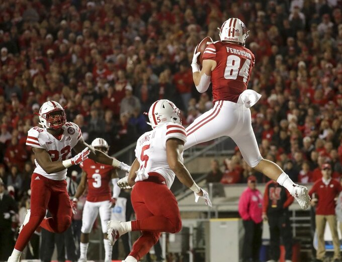 Wisconsin's Jake Ferguson catches a touchdown pass during the first half of an NCAA college football game against Nebraska Saturday, Oct. 6, 2018, in Madison, Wis. (AP Photo/Morry Gash)
