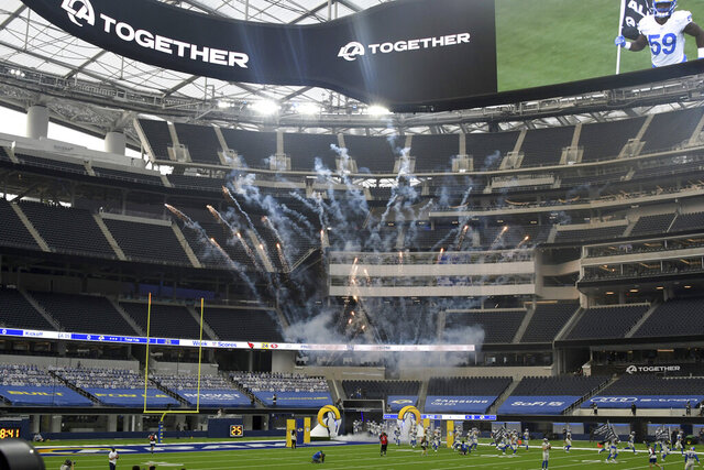 Los Angeles Rams take the field in front of an empty stadium prior to a NFL football game against the Dallas Cowboys on opening night at SoFi Stadium in Inglewood on Sunday, September 13, 2020. (Keith Birmingham/The Orange County Register via AP)