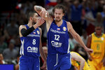 Czech Republic's Ondrej Balvin at right celebrates with Czech Republic's Tomas Satoransky during phase two of the FIBA Basketball World Cup at the Shenzhen Bay Sports Center in Shenzhen in southern China's Guangdong province on Saturday, Sept. 7, 2019. (AP Photo/Ng Han Guan)
