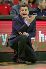 Arizona head coach Sean Miller reacts to a call during the first half of an NCAA college basketball game against Baylor in Waco, Texas, Saturday, Dec. 7, 2019. (AP Photo/Michael Ainsworth)