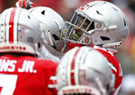 Ohio State receiver Parris Campbell, right, celebrates his touchdown against Rutgers during the first half of an NCAA college football game Saturday, Sept. 8, 2018, in Columbus, Ohio. (AP Photo/Jay LaPrete)