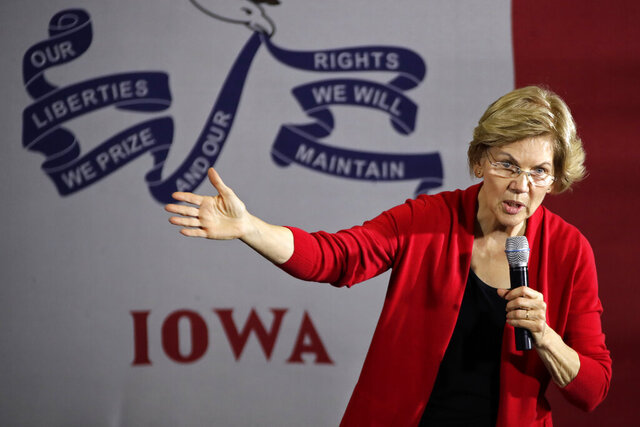 Democratic presidential candidate Sen. Elizabeth Warren, D-Mass., speaks at a Get Out the Caucus Rally at Simpson College in Indianola, Iowa, Sunday, Feb. 2, 2020. (AP Photo/Gene J. Puskar)