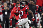 Atlanta Falcons wide receiver Olamide Zaccheaus (17) runs into the end zone for a touchdown against the Carolina Panthers during the second half of an NFL football game, Sunday, Dec. 8, 2019, in Atlanta. (AP Photo/Mike Stewart)