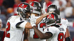 Tampa Bay Buccaneers quarterback Tom Brady (12) celebrates with wide receiver Antonio Brown (81) after a catch against the Dallas Cowboys during the second half of an NFL football game Thursday, Sept. 9, 2021, in Tampa, Fla. (AP Photo/Scott Audette)
