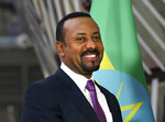 FILE - In this file photo dated Thursday, Jan. 24, 2019, Ethiopian Prime Minister Abiy Ahmed at the European Council headquarters in Brussels.  Abiy Ahmed announced a failed coup attempt during a public address on TV  Sunday, June 23, 2019, allegedly led by a high-ranking military official and others in the Amhara region. (AP Photo/Francisco Seco, FILE)