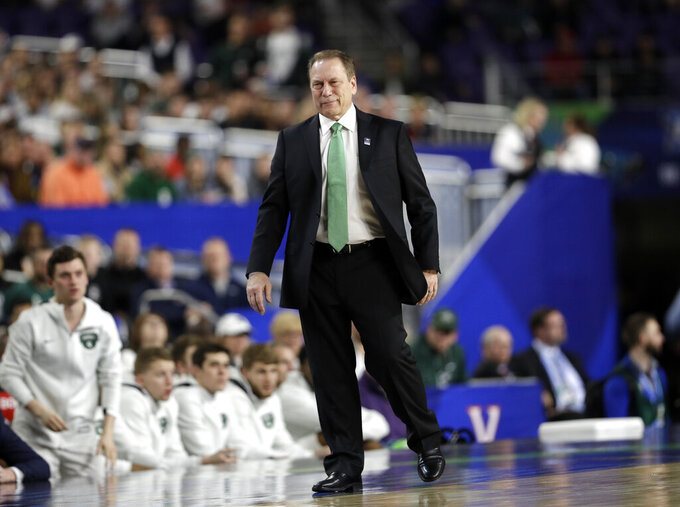 Michigan State head coach Tom Izzo watches his team during the first half in the semifinals of the Final Four NCAA college basketball tournament against the Texas Tech, Saturday, April 6, 2019, in Minneapolis. (AP Photo/David J. Phillip)