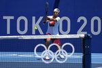 Russian athlete Karen Khachanov practices ahead of the 2020 Summer Olympics at Ariake Tennis Center, Monday, July 19, 2021, in Tokyo. (AP Photo/Kiichiro Sato)