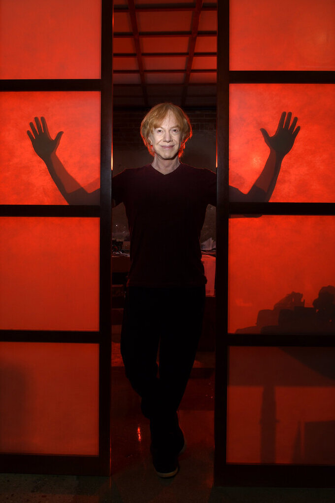 """Musician Danny Elfman poses in his studio on May 26, 2021, in Los Angeles to promote his 18-track double album """"Big Mess."""" (AP Photo/Mark J. Terrill)"""