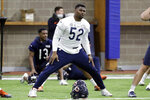 FILE - In this June 12, 2019, file photo, Chicago Bears linebacker Khalil Mack works out at the NFL team's football training facility in Lake Forest, Ill. The Bears play the Green Bay Packers on Thursday, Sept. 5. (AP Photo/Nam Y. Huh, File)