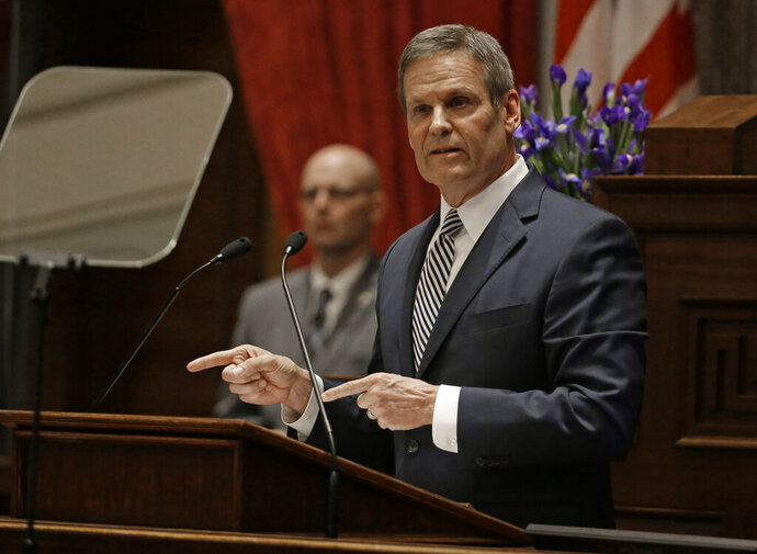 Gov. Bill Lee delivers his first State of the State Address Monday, March 4, 2019, in Nashville, Tenn. (AP Photo/Mark Humphrey)