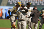 San Diego Padres starting pitcher Adrian Morejon walks to the dugout after being removed in the third inning of a baseball game against the San Francisco Giants Sunday, Sept. 27, 2020, in San Francisco. (AP Photo/Eric Risberg)