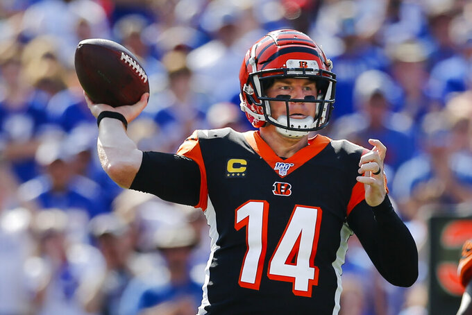 Cincinnati Bengals quarterback Andy Dalton (14) throws a pass during the first half of an NFL football game against the Buffalo Bills, Sunday, Sept. 22, 2019., in Orchard Park, N.Y. (AP Photo/John Munson)