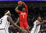 Ohio State guard Luther Muhammad (1) shoots against Northwestern during the first half of an NCAA college basketball game Wednesday, March 6, 2019, in Evanston, Ill. (AP Photo/Nam Y. Huh)