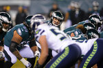 Philadelphia Eagles' Josh McCown plays during the first half of an NFL wild-card playoff football game against the Seattle Seahawks, Sunday, Jan. 5, 2020, in Philadelphia. (AP Photo/Chris Szagola)