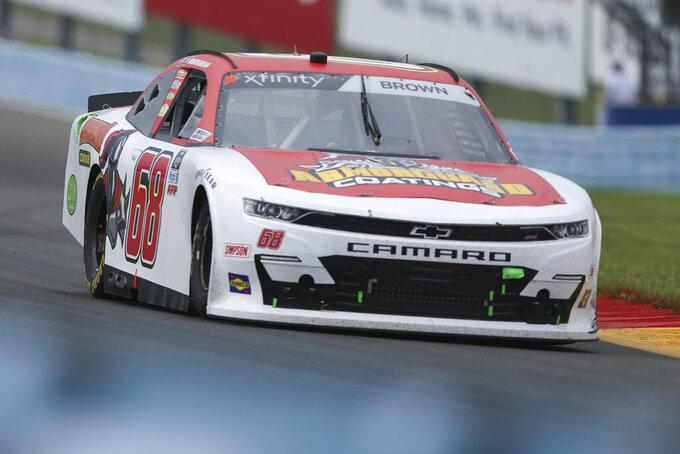 Brandon Brown drives through the Esses in the NASCAR Xfinity Series auto race at Watkins Glen International in Watkins Glen, N.Y., on Saturday, Aug. 7, 2021. (AP Photo/Joshua Bessex)