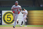 Washington Nationals' Alex Avila (6) runs the bases after hitting a home run in the fourth inning during a baseball game against the Pittsburgh Pirates, Sunday, Sept. 12, 2021, in Pittsburgh. (AP Photo/Rebecca Droke)