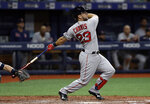 Boston Red Sox's Michael Chavis follows through on a double off Tampa Bay Rays relief pitcher Jose Alvarado during the ninth inning of a baseball game Saturday, April 20, 2019, in St. Petersburg, Fla. (AP Photo/Chris O'Meara)