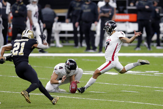 Atlanta Falcons kicker Younghoe Koo (7) kicks a field goal in the first half of an NFL football game against the New Orleans Saints in New Orleans, Sunday, Nov. 22, 2020. (AP Photo/Brett Duke)
