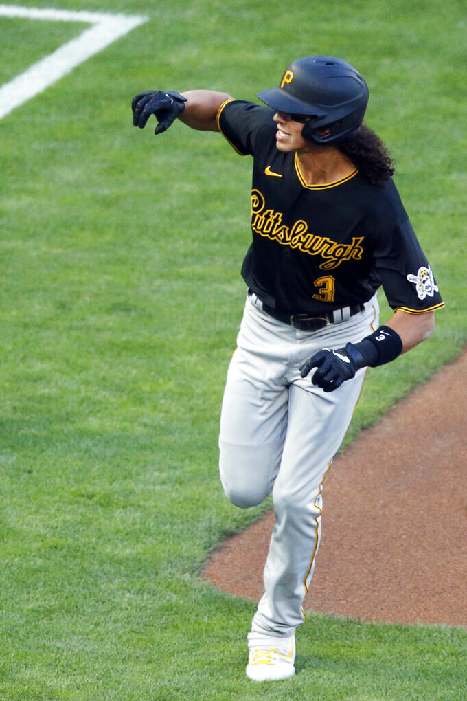 Pittsburgh Pirates' Cole Tucker runs the bases on a solo home run off Minnesota Twins pitcher Lewis Thorpe during the first inning of a baseball game Monday, Aug. 3, 2020, in Minneapolis. (AP Photo/Jim Mone)