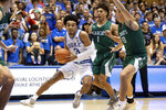 Duke's Tre Jones (3) drives against Northwest Missouri State's Diego Bernard (1) and Ryan Hawkins (33) during the second half of an NCAA college exhibition basketball game in Durham, N.C., Saturday, Oct. 26, 2019. (AP Photo/Ben McKeown)