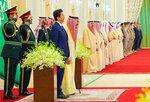In this photo released by Saudi Press Agency, SPA, Saudi King Salman, center left, stands with Japan's Prime Minister Shinzo Abe in Riyadh, Saudi Arabia, Sunday, Jan. 12, 2020. (Saudi Press Agency via AP)