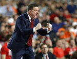 FILE - In this April 8, 2019, file photo, Texas Tech head coach Chris Beard reacts during the first half against Virginia in the championship of the Final Four NCAA college basketball tournament in Minneapolis. (AP Photo/David J. Phillip)