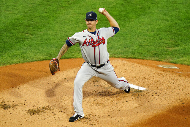 Atlanta Braves' Tommy Milone pitches during the first inning of a baseball game against the Philadelphia Phillies, Sunday, Aug. 30, 2020, in Philadelphia. (AP Photo/Matt Slocum)
