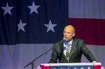 Michael Avenatti speaks at the Iowa Democratic Wing Ding at the Surf Ballroom in Clear Lake, Iowa, Friday, Aug. 10, 2018. Avenatti, the self-styled provocateur taking on the president on behalf of porn actress Stormy Daniels, has a message for Iowa Democrats: His foray into presidential politics is no stunt. (Chris Zoeller/Globe-Gazette via AP)