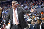 Auburn head coach Bruce Pearl reacts to a play during the first half of an NCAA college basketball game against South Carolina Wednesday, Jan. 22, 2020, in Auburn, Ala. (AP Photo/Julie Bennett)