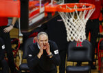 Rutgers head coach Steve Pikiell shouts during the second half of an NCAA college basketball game against Iowa in Piscataway, N.J., Saturday, Jan. 2, 2021. (AP Photo/Noah K. Murray)