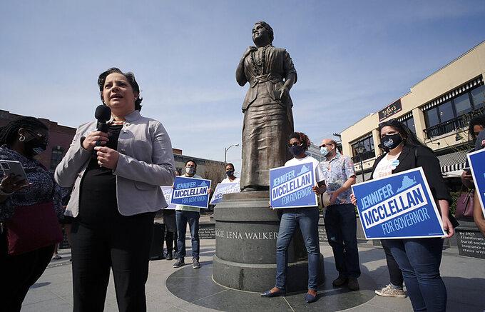 Sen. Jennifer McClellan, D-Richmond, speaks during a press conference she called to discuss her gubernatorial campaign beneath the Maggie L. Walker statue in Richmond, Va., Thursday, April 8, 2021. (Bob Brown/Richmond Times-Dispatch via AP)