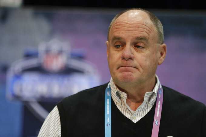 FILE - In this Feb. 27, 2019, file photo, Pittsburgh Steelers general manager Kevin Colbert speaks during a press conference at the NFL football scouting combine in Indianapolis. The way Colbert figures it, the Steelers' first-round pick in the draft is already a home run. The longtime general manager offers safety Minkah Fitzpatrick's All-Pro season in 2019 as proof. The Steelers made an uncharacteristically aggressive move last September when they sent their top selection in the 2020 draft to Miami in exchange for Fitzpatrick, whose arrival turned Pittsburgh's defense into one of the NFL's best. (AP Photo/Michael Conroy, File)