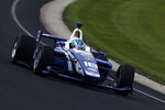 In a photo provided byIMS Photo, Jarrett Andretti tests for the Freedom 100 Indy Lights auto race at Indianapolis Motor Speedway in Indianapolis on Monday, May 20, 2019. The 26-year-old Andretti is making his racing debut at the hallowed speedway on Friday, when the lower-tier Indy Lights series runs the Freedom 100 on Carb Day ahead of the Indianapolis 500 (Joe Skibinski/IMS Photo via AP)
