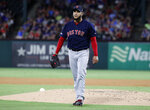 Boston Red Sox starting pitcher Eduardo Rodriguez walks off the mound after working against the Texas Rangers in the first inning of a baseball game in Arlington, Texas, Tuesday, Sept. 24, 2019. (AP Photo/Tony Gutierrez)