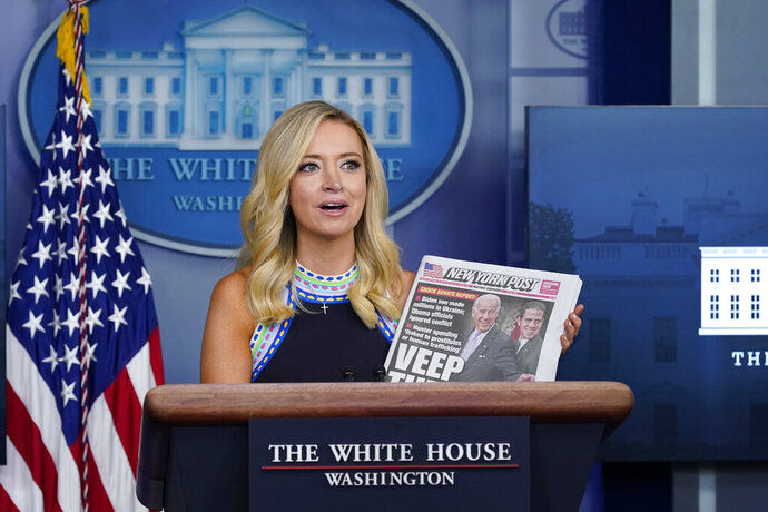 White House press secretary Kayleigh McEnany speaks during a news conference at the White House, Thursday, Sept. 24, 2020, in Washington. (AP Photo/Patrick Semansky)