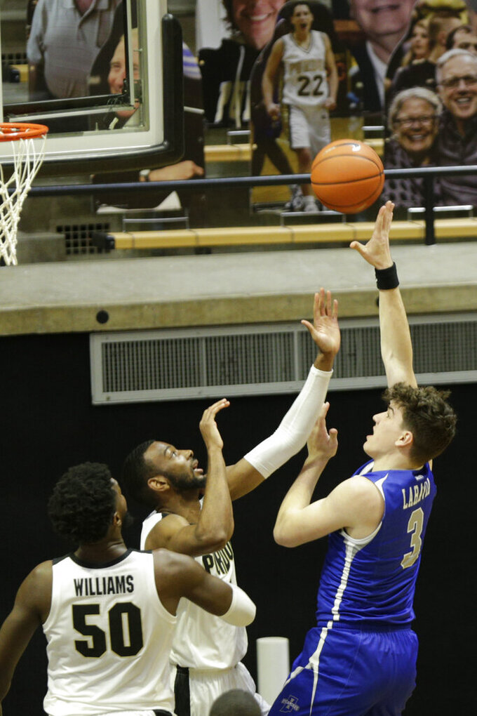 Indiana State's forward Jake LaRavia (3) goes up for a layup during the first half of an NCAA men's basketball game, Saturday, Dec. 12, 2020, in West Lafayette, Ind. (Nikos Frazier/Journal & Courier via AP)